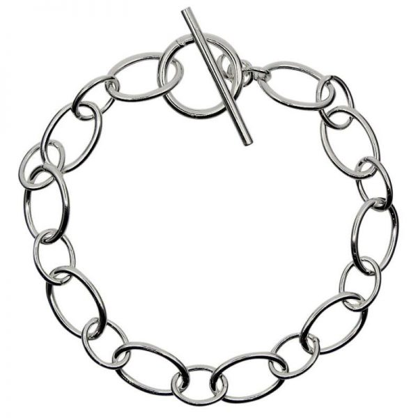 Oval linked T-Bar Bracelet-0