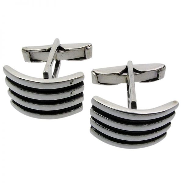 Silver Curved Ridged Cufflinks-0