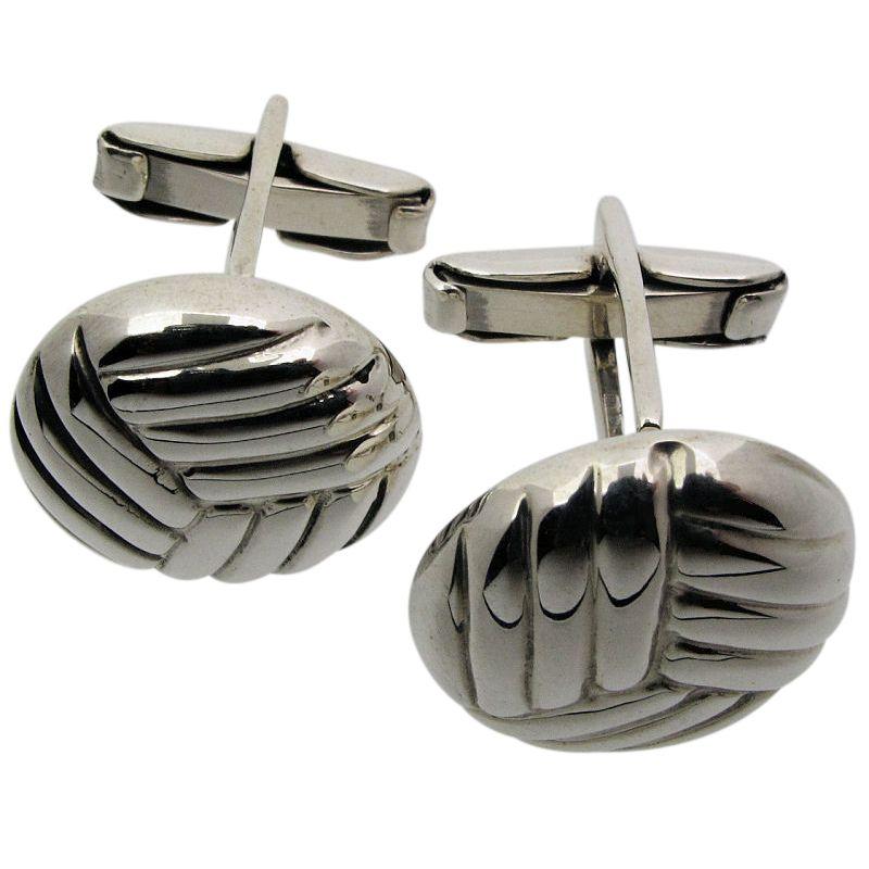 Silver Woven Cufflinks-0