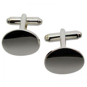 Plain Round Silver Cufflinks-0