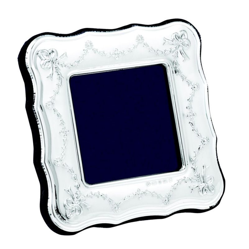 Square Sterling Silver Ribbon Frame-0