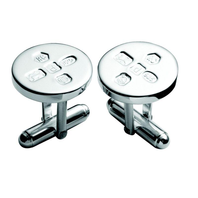 Round silver cufflinks with feature hallmarks-0