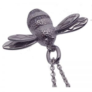Silver Bumble Bee Necklace-387