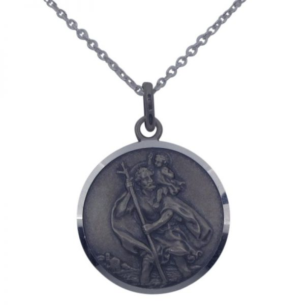 Oxidised Silver St Christopher-0