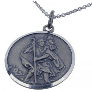 Oxidised Silver St Christopher-428