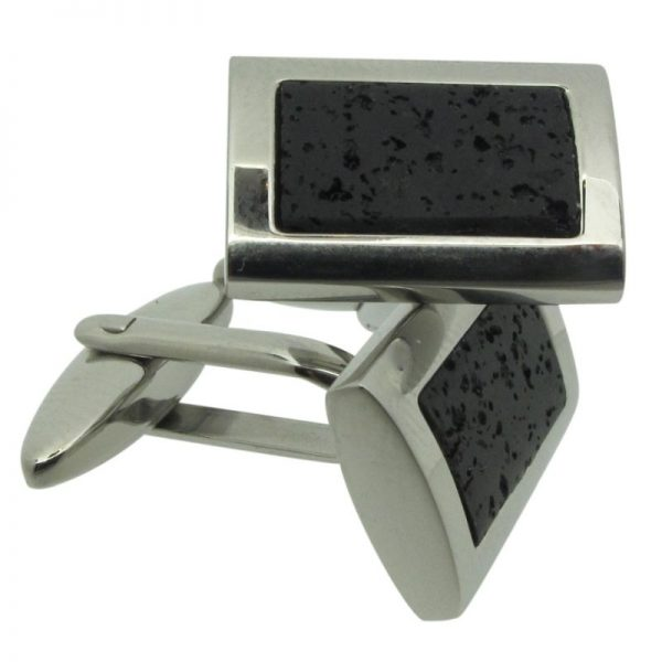 Steel and Lava Rock Cufflinks-0