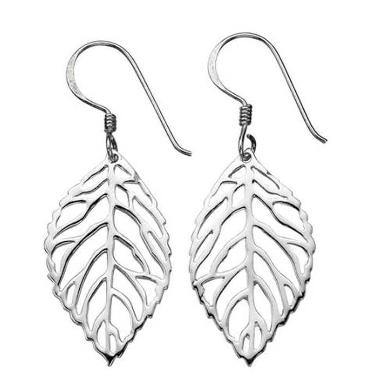 Cut-out Leaf Drop Earrings-0