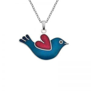 Rhodium Plated Bird Necklace-0