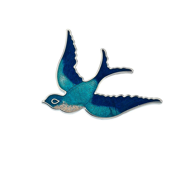 Rhodium Plated Swallow Brooch-0
