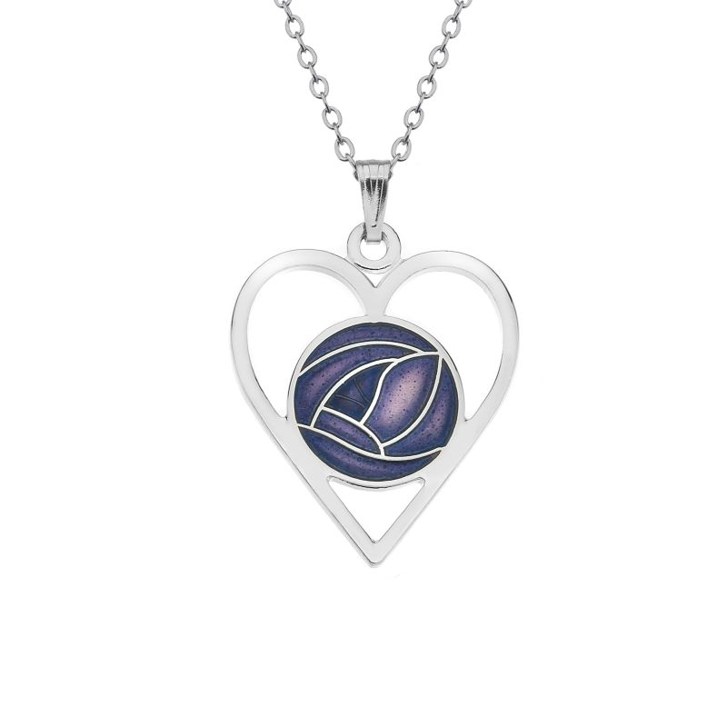 Rhodium Plated Purple Heart Rose Necklace-0