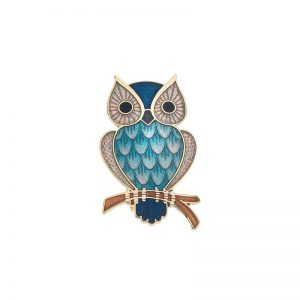 Gold Plated Owl Brooch-0