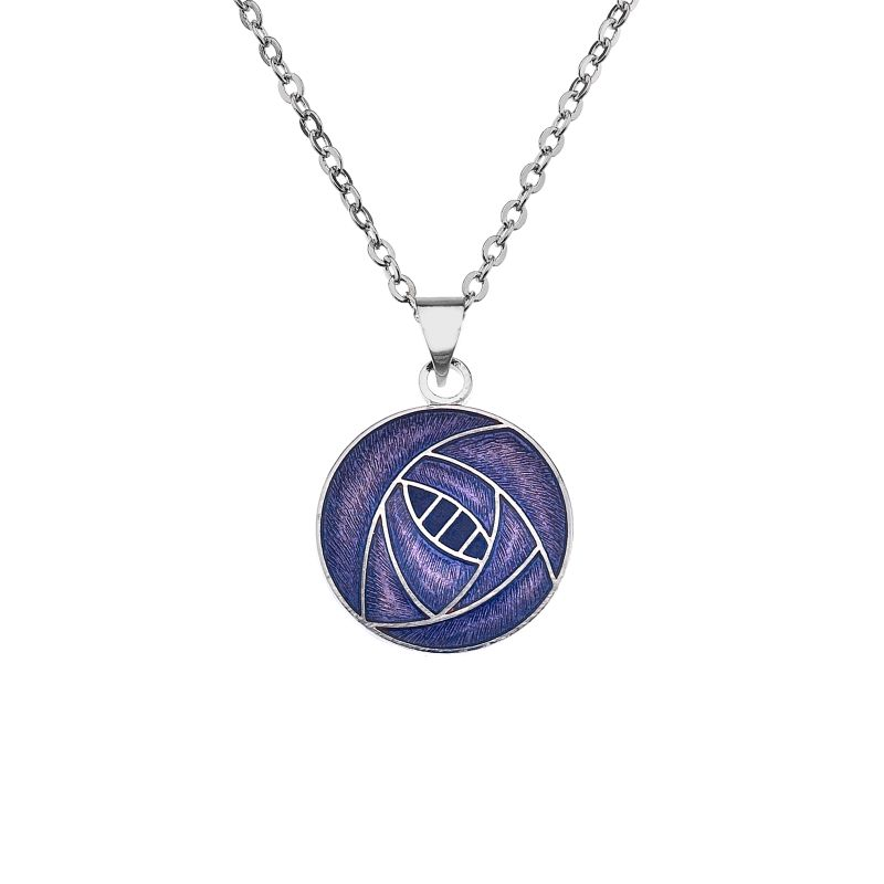 Rhodium Plated Purple Rose Necklace-0