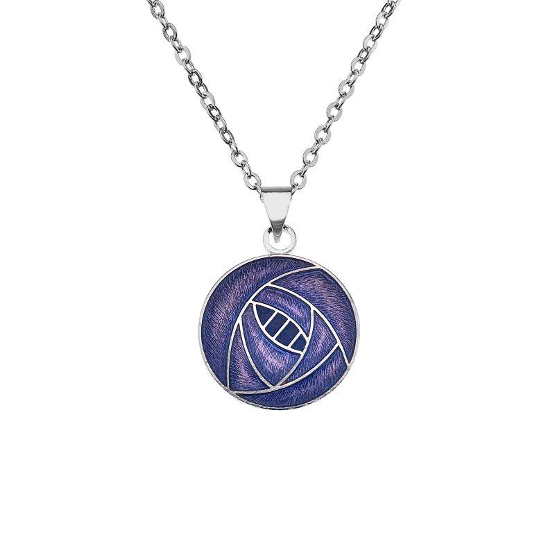 Rhodium Plated Purple Rose Necklace-0
