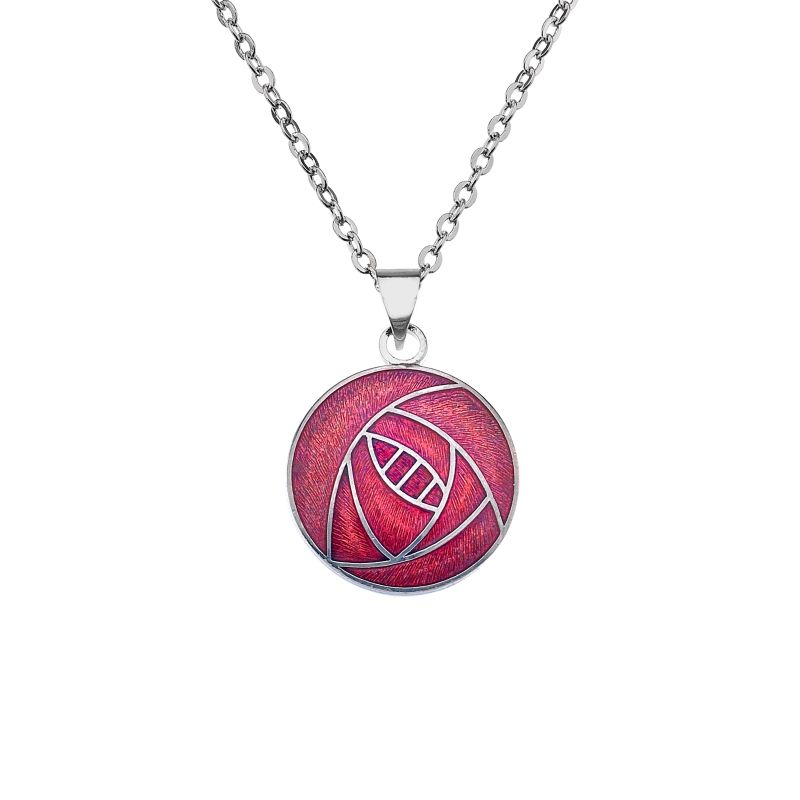 Rhodium Plated Red Rose Necklace-0