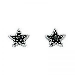 Oxidised Star Stud Earrings-0