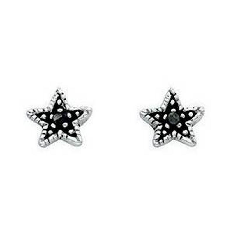 Oxidised Star Stud Earrings-0
