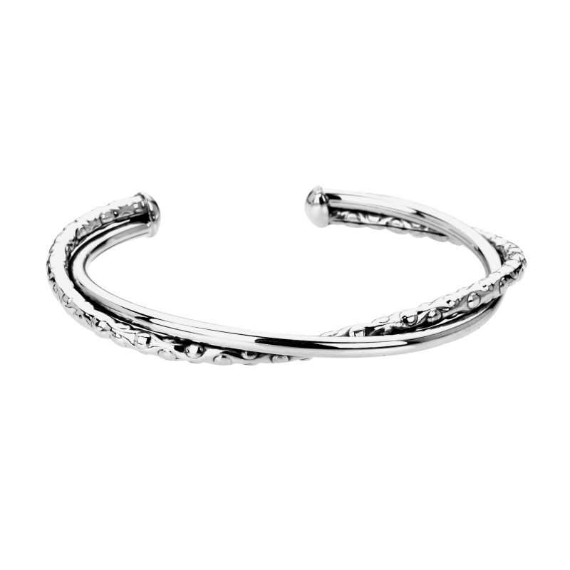 Double Textured Torque Bangle-0