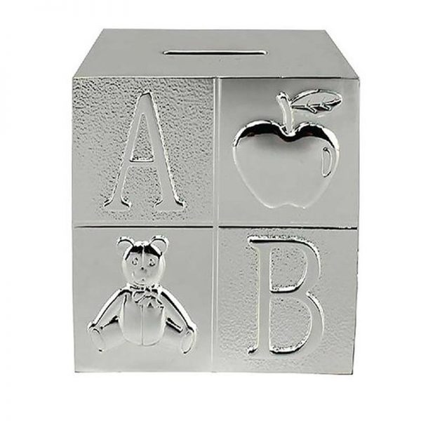 Silver Plated ABC Cube Money Box-0