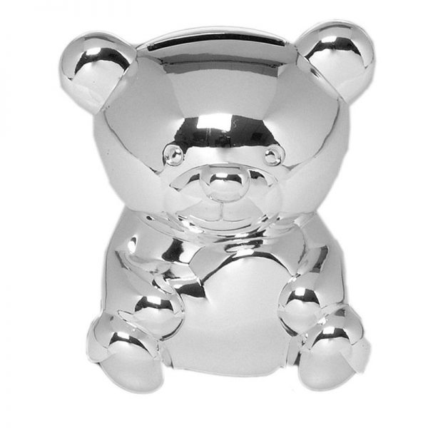 Silver Plated Teddy Bear Money Box-0