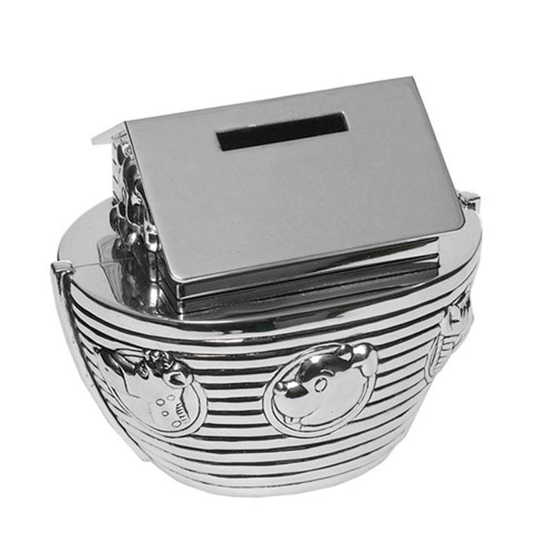 Silver Plated Noah's Ark Money Box-0