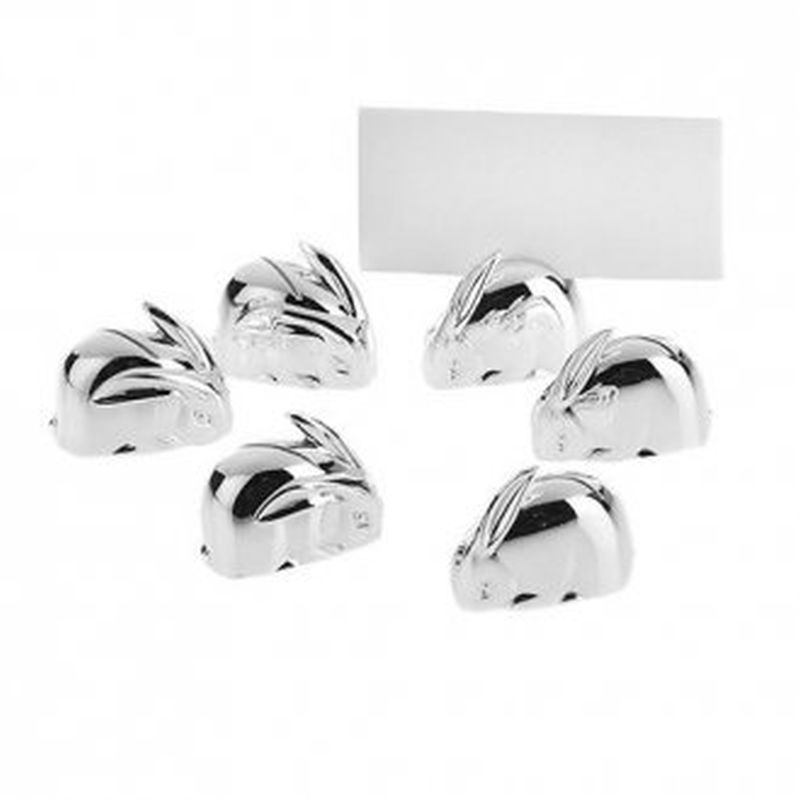 Silver Plated Rabbit Placecard Holders-0