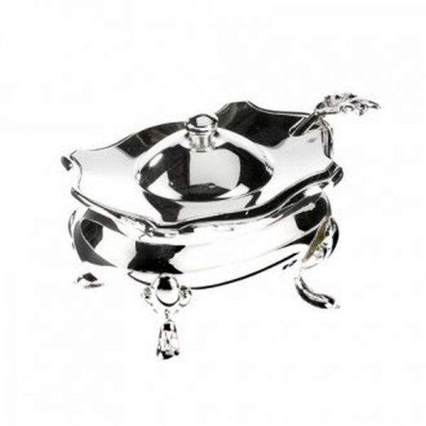 Silver Plated Condiment Pot and Spoon-0